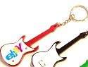 Custom Printed Guitar shape LED bottle opener keychain.