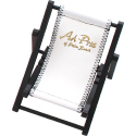 Black Frame with White Vinyl Seat. Mini Beach Chair Cell Phone Holder