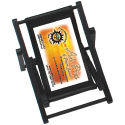Black Frame with Black Leatherette Seat. Mini Beach Chair Cell Phone Holder