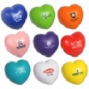 Custom Printed Heart stress relievers come in assorted colors, including pink.